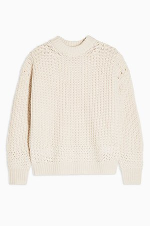 Recycled Crew Neck Jumper White   Topshop
