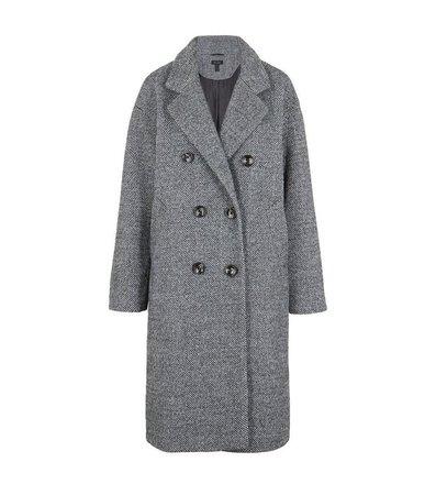 Black Fluffy Twill Collared Maxi Coat   New Look