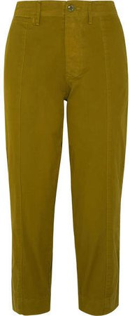 Cropped Cotton-blend Twill Tapered Pants - Green