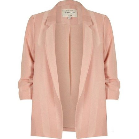 RIVER ISLAND Plus Blush Pink Ruched Sleeve Blazer