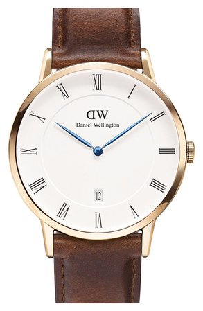 'Dapper St. Mawes' Leather Strap Watch, 38mm | Nordstrom