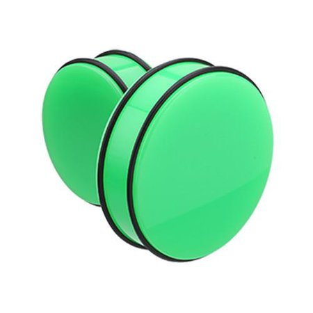Green Supersize Neon Colored Acrylic No Flare Ear Gauge Plug - 1 Pair - Rebel Bod