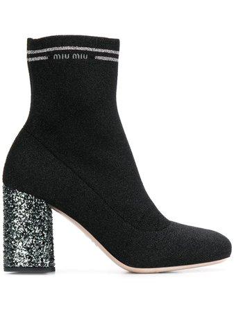Black Miu Miu Knit Fabric Boots   Farfetch.com