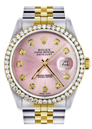 Womens Gold Rolex Datejust Watch 16233 | 36Mm | Pink Dial | Jubilee Ba – FrostNYC