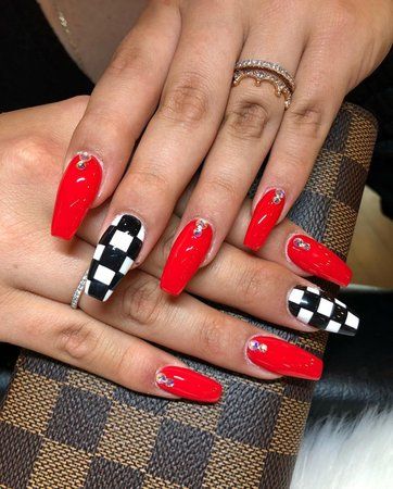 red nails checkered - Google Search