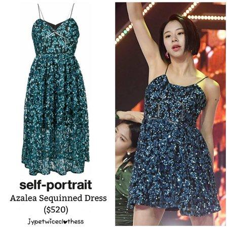 "Twice's Fashion on Instagram: ""CHAEYOUNG SHOW CHAMPION SELF PORTRAIT- Azalea Sequinned Dress ($520) #twicefashion #twicestyle #twice #nayeon #jeongyeon #jihyo #momo…"""