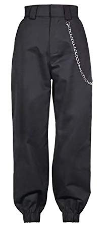 Black High Waste Pants with Chains
