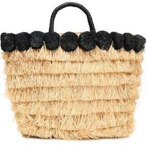 Pompom-embellished Leather-trimmed Straw Tote