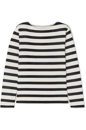 SAINT LAURENT   Striped loopback cotton-jersey sweatshirt   NET-A-PORTER.COM
