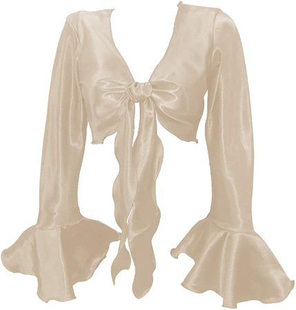 Indian Trendy Women's Satin Ruffle Sleeve Tie Top Choli Blouse Belly Dance Gypsy (One Size, Cream) at Amazon Women's Clothing store