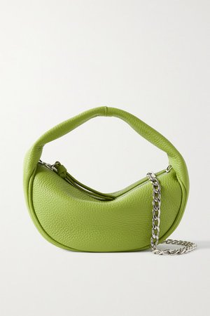 Baby Cush Chain-embellished Textured-leather Shoulder Bag - Bright green