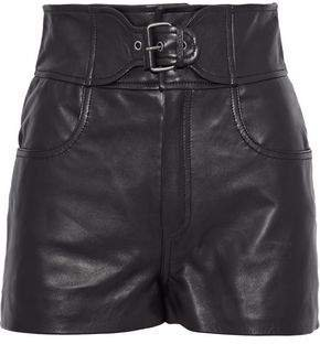 Buckled Leather Shorts