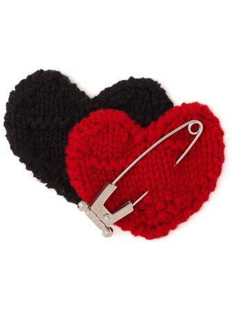 Prada knitted double heart pin red & black 1IS0452DAU - Farfetch