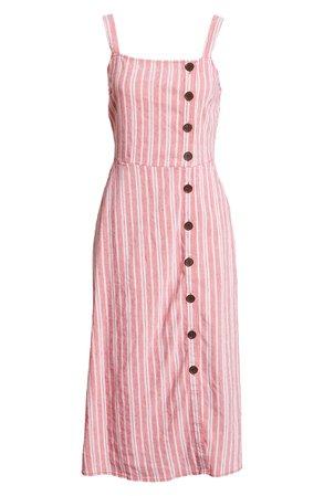 Treasure & Bond Asymmetrical Button Linen Blend Midi Dress | Nordstrom
