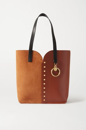 Tan Gaia studded leather and suede tote   See By Chloé   NET-A-PORTER