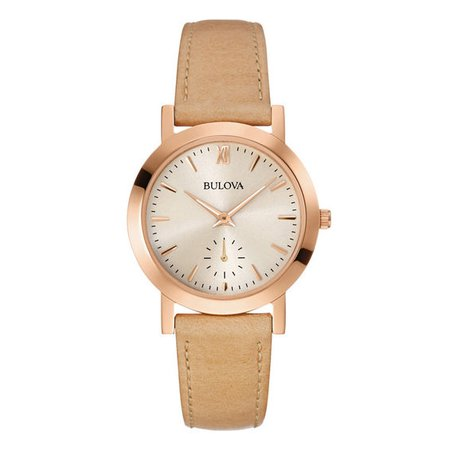 Ladies' Bulova Classic Rose-Tone Strap Watch with White Dial (Model: 97L146) | View All Jewellery | Peoples Jewellers