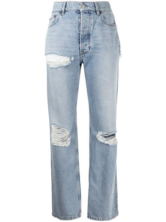 Balenciaga Ripped straight-leg Jeans - Farfetch