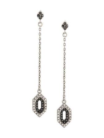 Silver Karl Lagerfeld Angular Pave Drop Earrings | Farfetch.com