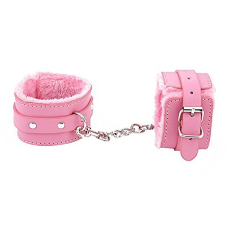 Desertcart Adjustable Plush PU Leather Slave Wrist & Ankle Handcuffs Hand Restraints Toy (Pink)