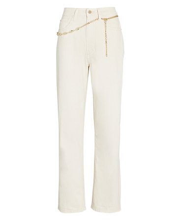 WeWoreWhat Dad Chain-Trimmed High-Rise Jeans | INTERMIX®