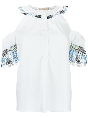 Peter Pilotto cold shoulder blouse WHITE Women Clothing Blouses,peter pilotto for target floral dress,Clearance Prices, peter pilotto sale online Classic Styles