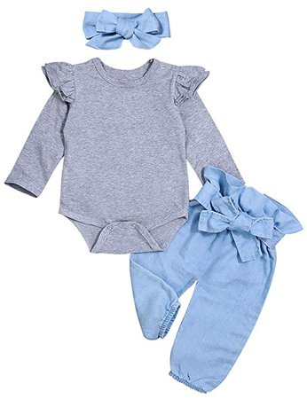 Amazon.com: Newborn Baby Girls Clothes Ruffle T-Shirt + Floral Pants + Headband + Hat Outfit Sets: Clothing