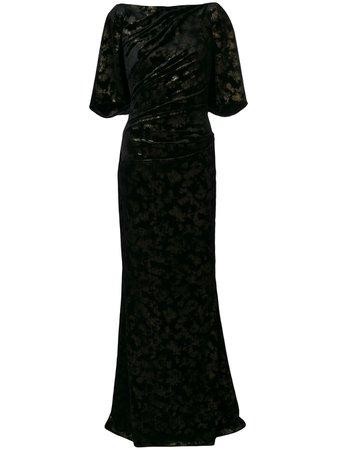 Shop black Talbot Runhof long velvet dress with Express Delivery - Farfetch