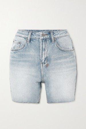 Racer Frayed Denim Shorts - Light denim