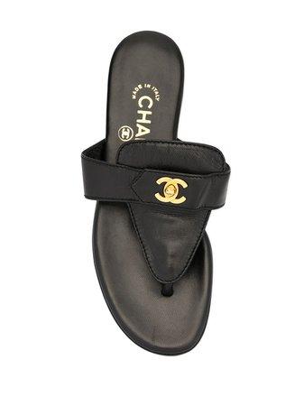 Chanel Pre-Owned Cc Logos Turn-Lock Motif Sandals Vintage | Farfetch.com