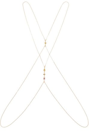 Chan Luu | Gold-plated, amethyst, citrine and labradorite body chain | NET-A-PORTER.COM