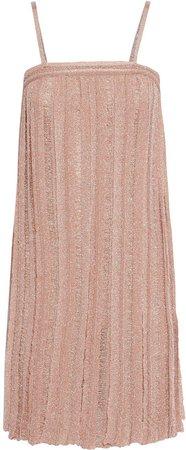 Pleated Metallic Crochet-knit Mini Dress
