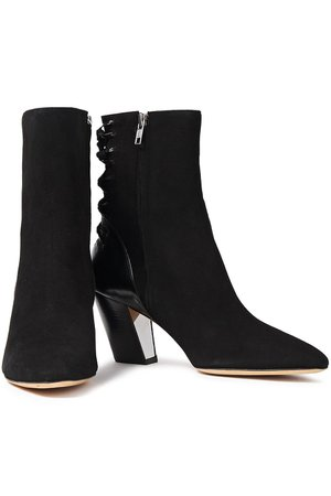 Black Volira lace-up suede and cracked-leather ankle boots   Sale up to 70% off   THE OUTNET   IRO   THE OUTNET