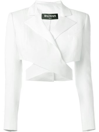 BALMAIN Cut Out Detail Cropped Jacket.