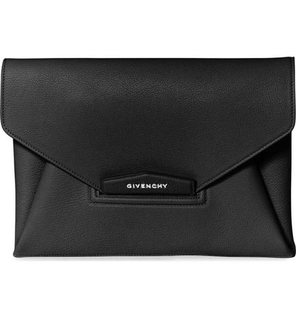 Givenchy | 'Medium Antigona' Leather Envelope Clutch in Black