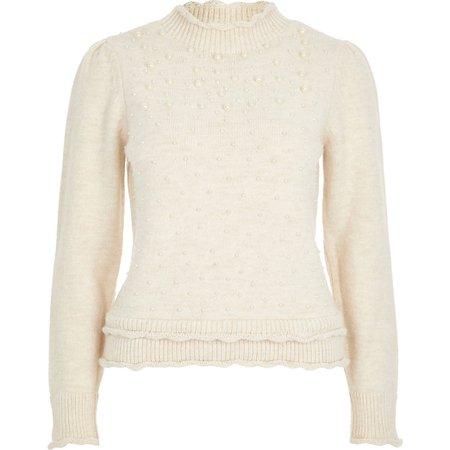 Cream pearl embellished puff sleeve jumper | River Island
