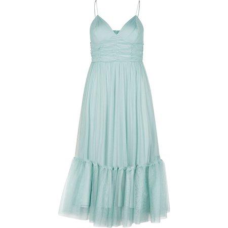 Green mesh strappy midi dress | River Island