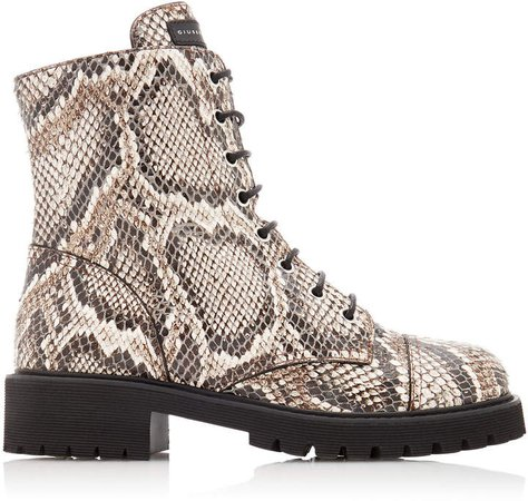 Python-Embossed Leather Combat Boots Size: 36