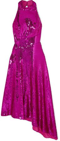 Asymmetric Open-back Sequined Satin Midi Dress - Magenta