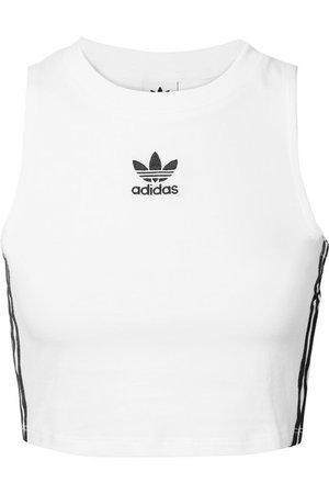 adidas Originals | Cropped striped stretch-cotton jersey tank | NET-A-PORTER.COM