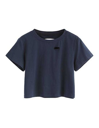 SweatyRocks Women's Summer Short Sleeve Tee Distressed Ripped Crop T-Shirt Tops at Amazon Women's Clothing store: