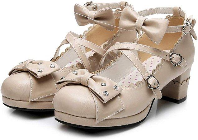 Amazon.com | Sweet Lolita Cosplay Chunky High Heel Pumps Rhinestone Bow Princess Party Shoes | Pumps