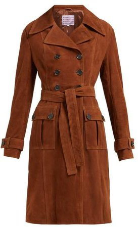 Belted Double Breasted Suede Coat - Womens - Brown