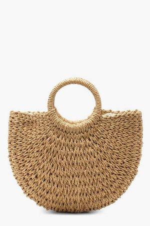 Circle Handle Straw Bag - Small | Boohoo