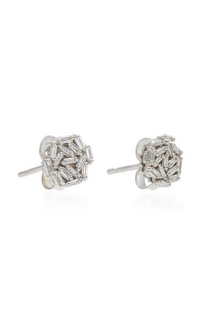 18k White Gold Diamond Baguette Earrings By Suzanne Kalan   Moda Operandi