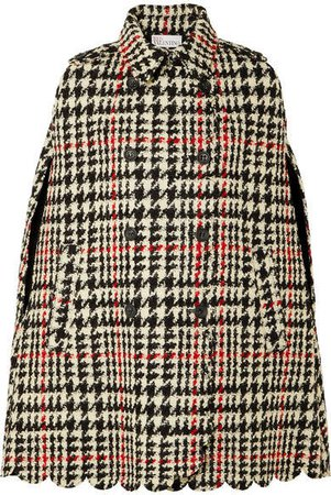 Houndstooth Double-breasted Wool-blend Bouclé Cape - Black