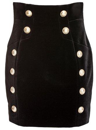 Balmain Button Detail Mini Skirt
