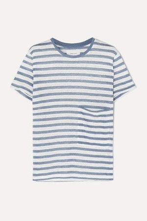 The Drop Pocket Striped Linen T-shirt - Blue