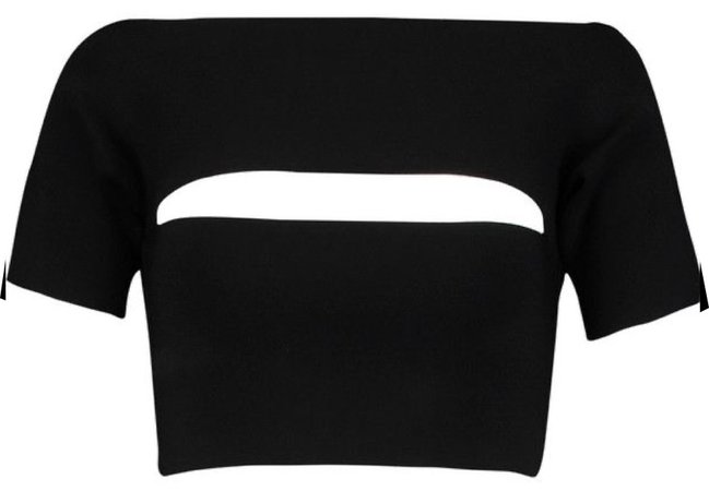 black cropped cut out tee
