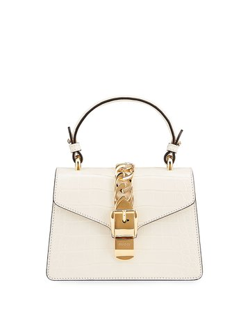 Gucci Sylvie Mini Alligator Top-Handle Bag | Neiman Marcus