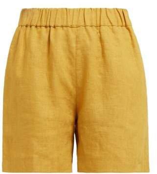 Carl Kapp - Noah High Rise Linen Shorts - Womens - Dark Yellow